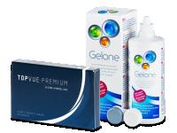 TopVue Premium (6 lenzen) + lenzenvloeistof Gelone 360 ml