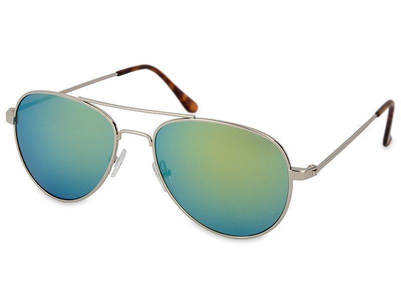 Zonnebril Zilver Pilot - Blauw/Groen
